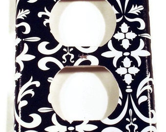 Wall Plates Switchplate   Light Switchplate  Outlet Plate Cover  in Black Damask (179O)