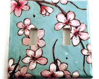 Decorative Switch Plate Wall Decor Double Switchplate Light Switch Cover  in  Watercolor Blossoms  (170D)