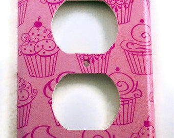 Pink Cupcake Switchplate Wall Decor Light Switch Cover  Outlet Plate in  Patisserie (240O)
