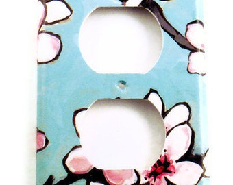 Switchplate Wall Decor  Light Switch Cover Outlet  in Watercolor Blossoms  (170O)