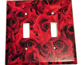 Double Light Switch Cover Wall Decor  Switchplate in Roses are Red   (253D)