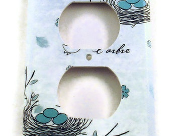 Light Switch Cover Wall Decor Single Outlet Plate in Birds Nest (226O)