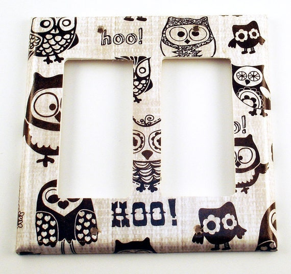 Owl Switch Plate Light Switch Cover Double Rocker in Owl Pals (701DR)