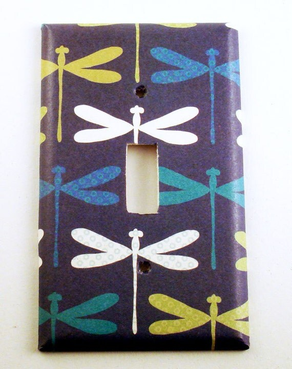 Decorative Wall Light Covers : Light switch cover wall decor switchplate in dragonfly navy