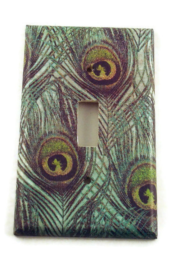 Light Switch Cover Wall Decor  Switchplate  Single Light Switch Plate in Peacock (222S)