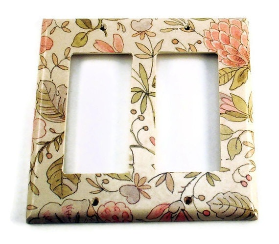 Light Switch Cover Wall Decor Switchplate Double Rocker Decorative Switch Plate in Ivory Floral (285DR)