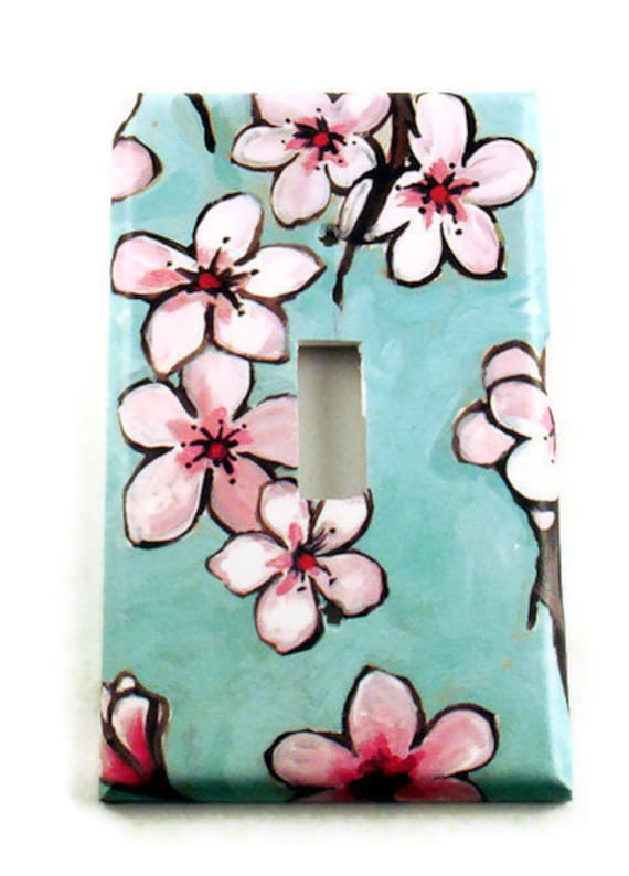 light switch cover switchplates wall decor switch plate in watercolor blossoms 170s - Decorative Light Switch Covers