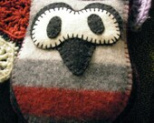 Owl plush - Black White Gray and Red