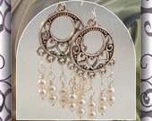 Pearl Heart  Earrings Dangle , Chandelier Beaded  Drop Earrings Item #545