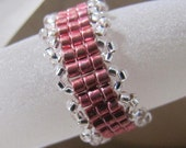 Ring Band,  Magenta Pink Beaded  Ring, Statement Ring, Finger Ring, Seed Bad Ring, Jewelry accessories, Body Jewelry, Beadwoven size 10.5