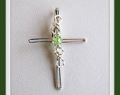 Peridot Cross Wire Wrapped  Pendant,  Sterling Silver,  August Birthstone,  Item #749