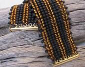 Black Herringbone Bracelet, Topaz  Beadwoven Bracelet,  Cuff Bracelet, 7.5 inch  length, Jewelry accessories, Slide Clasp Item #803