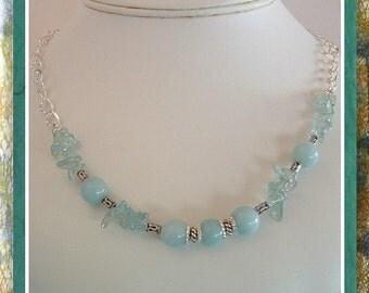Blue Necklace, Amazonite, Blue Topaz Gemstone Beaded Necklace,  20 inch adjustable, Sterling Clasp, OOAK,    Item #442