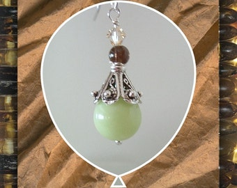 Earrings Lemon Chrysoprase,  Gemstone Earrings,  Beaded Dangle  Earrings,  Sterling Accents, Lt Green, Sterling French Earwires Item#456