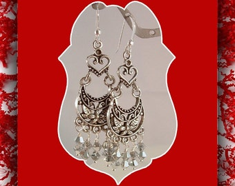 Chandelier Earrings,  Filigree Heart  Earrings, Crystal Earrings, Dangle Earrings, Jewelry Accessories,  Drops, Sterling Earwires, Item #447