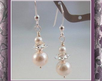 Earrings Swarovski White Pearl  .925 Sterling Earwires Item #543