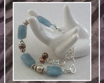 Zambian Jasper Bracelet, Gemstone Bracelet, Aqua Bracelet, Beaded Bracelet, Blue Bracelet,  Jasper Bracelet, Adjustable Bracelet, Item #580