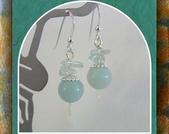 Amazonite and  Blue Topaz  Earrings, Gemstone Earrings, Beaded  Dangle  Earrings, Sterling French Earwires Item # 443