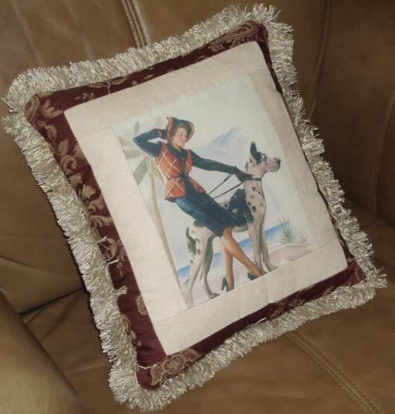 Beautiful Woman with Great Dane Vintage Print Pillow Home Decor Gift b 25