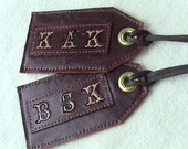 MONOGRAMMED Burgundy Upholstery Leather Luggage Tags - set of 2