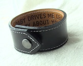 For Your Eyes Only - Custom - Hidden Message - 1.25 inch wide leather wristband