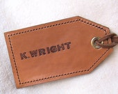 PERSONALIZED All Leather Luggage Tag - single tag