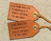 His and Hers - Happily Ever After - Custom leather luggage tags - set of 2