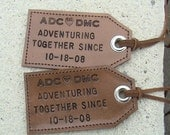His and Hers - Adventuring Together Since - set of 2 - leather luggage tags