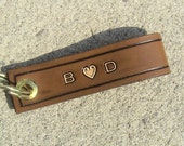 Personalized Husband leather keychain - text on both sides