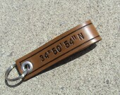 Custom - Leather - Nautical - Latitude/Longitude Keychain