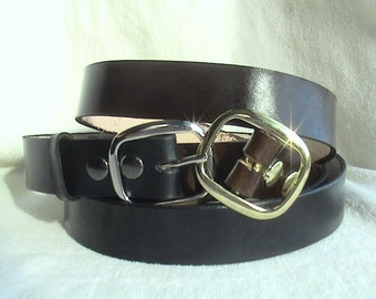 Classic Wide Leather Belt with buckle - unisex
