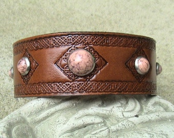 CELTIC Leather Wristband with coral rivets