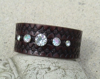 LEATHER and CRYSTALS  wristband