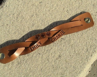 Personalized Braided Leather Wristband - 1.25 inches wide