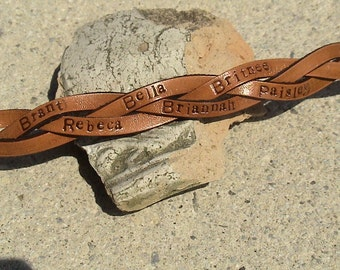Personalized - Family or BFF - 1/2 inch wide Ultra Thin Leather Braided Wristband