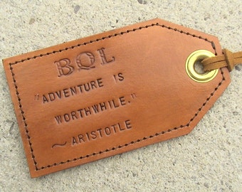 Custom Favourite Quotes - Leather Luggage Tag with privacy flap