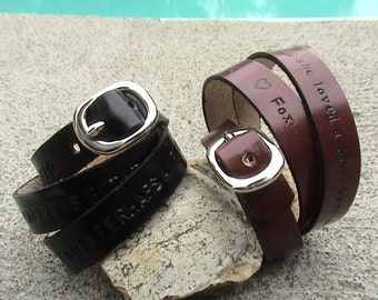 His n Hers - Personalized - Triple Wrap Leather Wristbands - set of 2 - 3/8 inch wide band