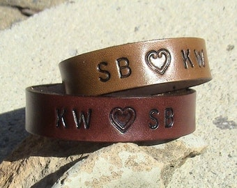 Personalized - set of 2 - HEART YOU - Leather wristband - 5/8 inch wide band