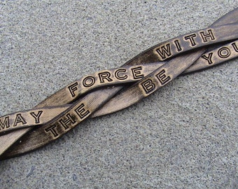 Star Wars - May the force be with you - 1.25 inch wide braided leather wristband