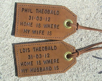 His and Hers - Personalized Leather Luggage Tags - set of two - Home is where my wife (husband) is