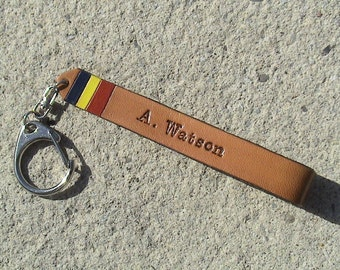 Personalized University/College Leather Keychain W/ school colours - 1/2 inch wide - text on both sides