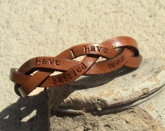 Custom - I have battled, I have won - awareness - ultra thin braided wristband
