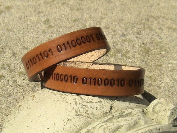 HIS n HERS Personalized Binary Code Leather wristbands - 5/8 inch band