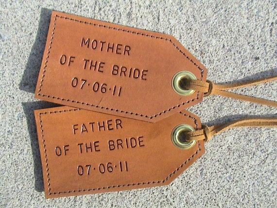 Mother and Father of the Bride - custom - leather luggage tags - set of 2