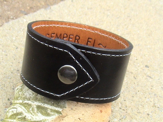 For Your Eyes Only - Hidden Message Leather Wristband - 1.5 inch wide band