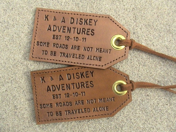Personalized - leather luggage tags - set of 2 - with favourite quote