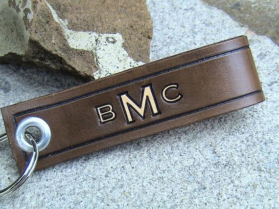 Custom Momogrammed Leather Keychain