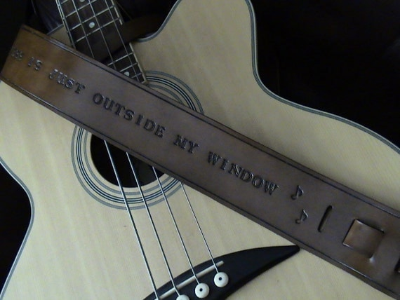 LMN Custom Leather Adjustable Guitar Strap - with hand-stamped with short lyrics