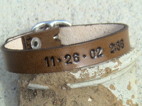 That Special Day - & or - Moments In Time - personalized leather - 3/8 inch wide - buckled wristband