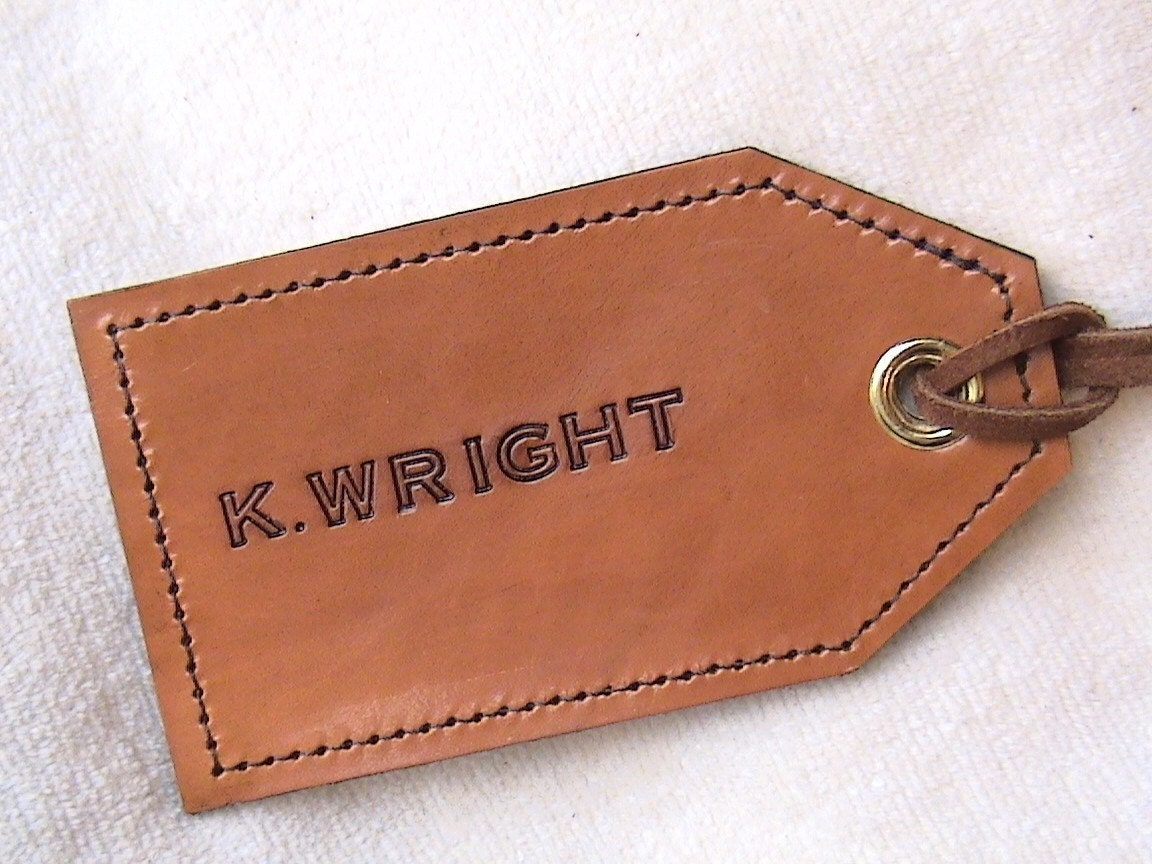 Luggage Tags: PERSONALIZED All Leather Luggage Tag Single Tag